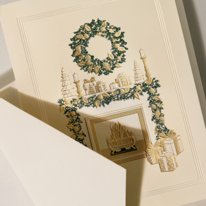 Crane | Cozy Christmas Fireplace Mantel Holiday Card