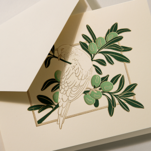 Crane | Dove in Olive Tree Holiday Card