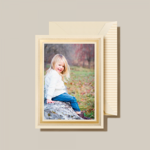 Crane | Gold Beaded Border Photo Card