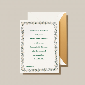 Crane | Pine Greenery Holiday Invitation