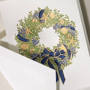 Crane | Sea Berries and Shells Coastal Wreath Holiday Card