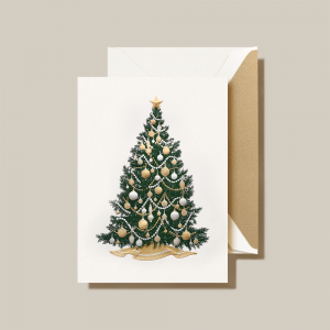 Crane | Silver and Gold Beaded Tree Holiday Card