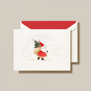 Crane | Skiing Santa Holiday Card