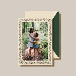 Crane | Small Pine Greenery Photo Card