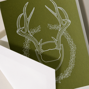 Crane | White Antlers Holiday Card
