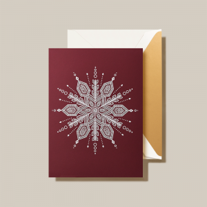 Crane | White Snowflake Holiday Card