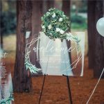 Acrylic Welcome Sign with Greenery Wreath and Gold Geo Frame