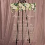 Acrylic Seating Chart with Greenery and White Florals