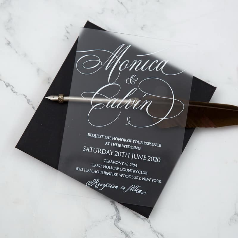 Classic Frosted Acrylic Wedding Invitation