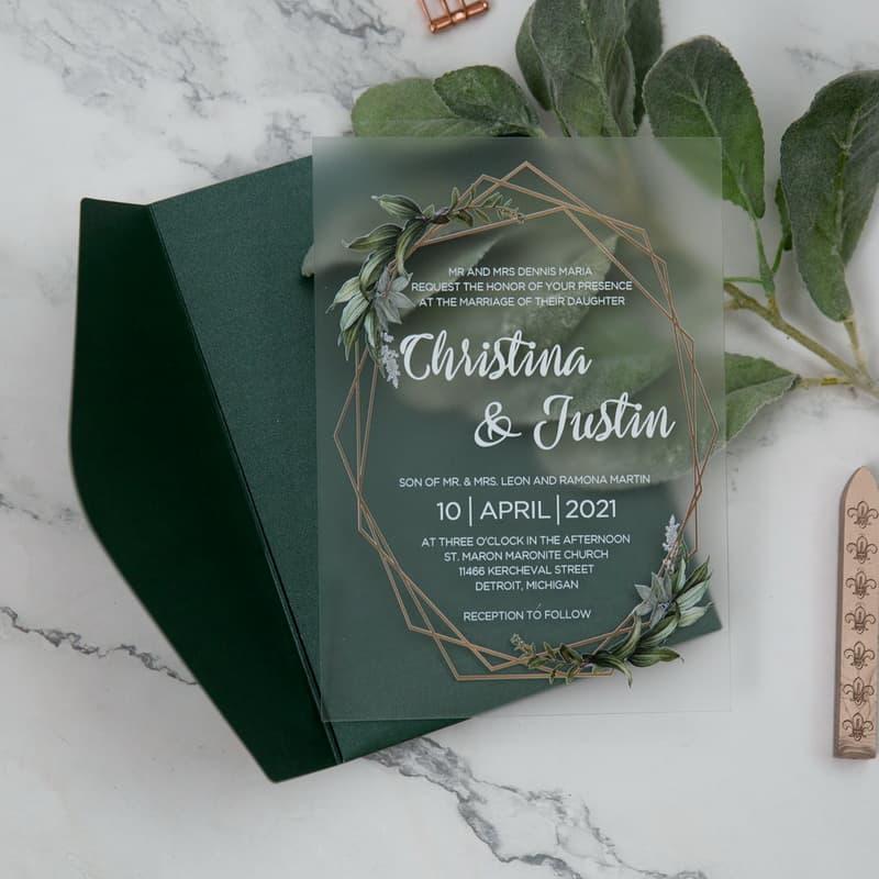 Greenery Wreath Frosted Acrylic Wedding Invitation