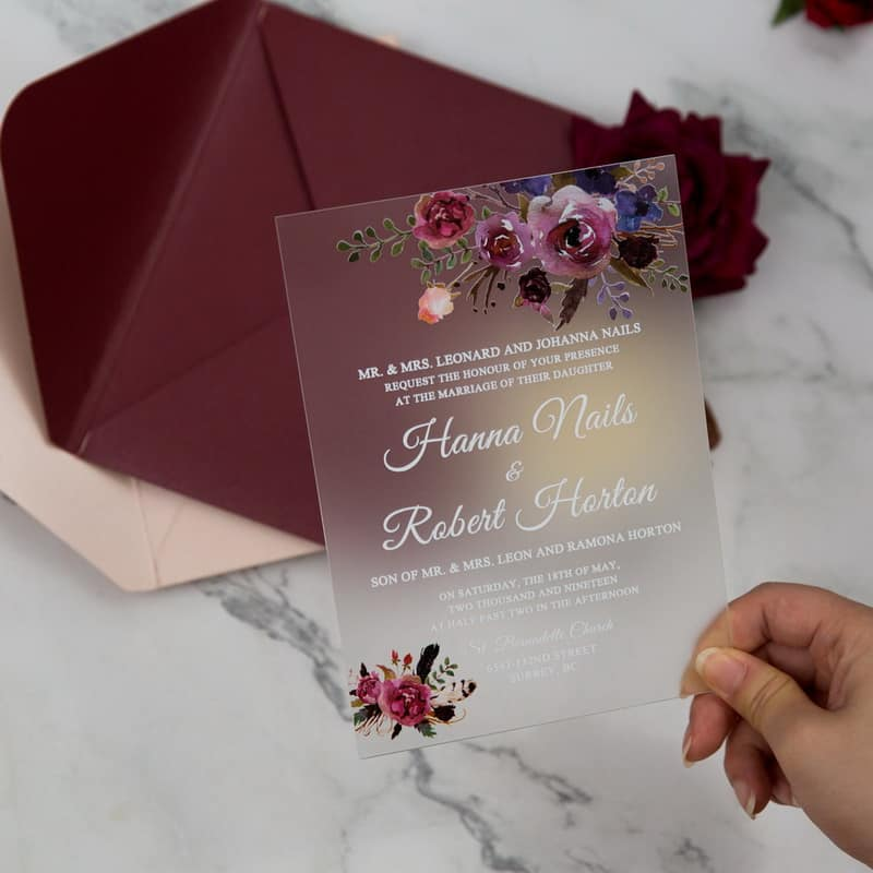 Frosted Acrylic Floral Wedding Invitation