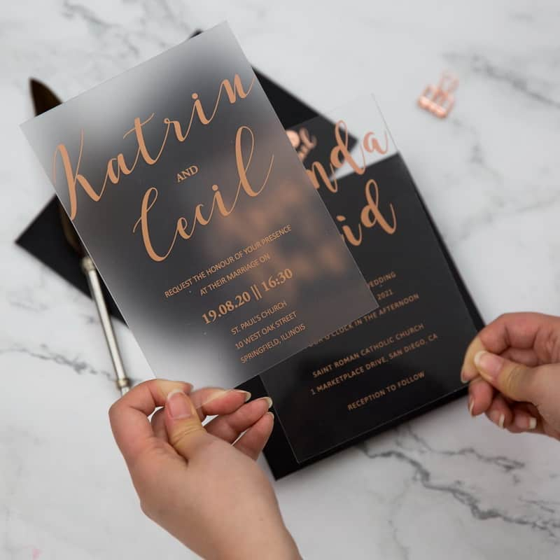 Frosted Acrylic Rose Gold Wedding Invitation