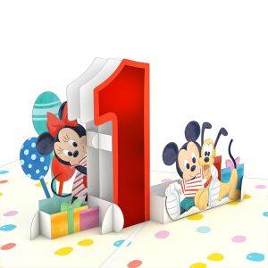 Lovepop Disney Mickey and Friends 1st Birthday 3D Pop Up Card