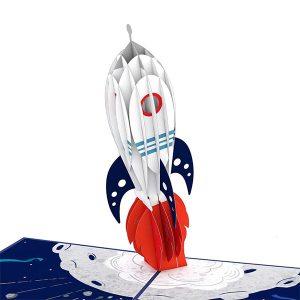 Hyegraph Invitations Lovepop Congrats Rocketship 3D Pop Up Card