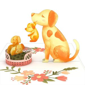 Hyegraph Invitations Lovepop Dog Family 3D Pop Up Card