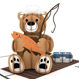 Hyegraph Invitations Lovepop Fishing Bear 3D Pop Up Card