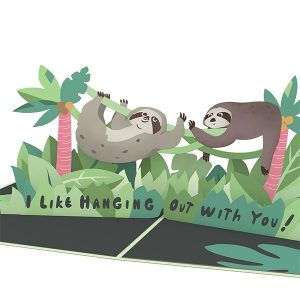 Hyegraph Invitations Lovepop Friendship Sloth 3D Pop Up Card