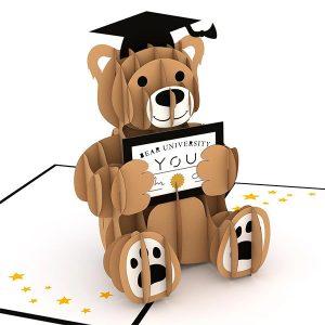 Hyegraph Invitations Lovepop Graduation Bear 3D Pop Up Card