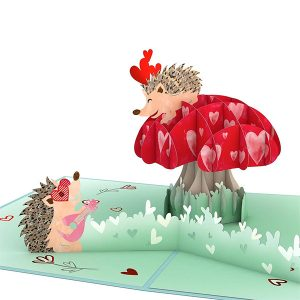 Hyegraph Invitations Lovepop Hedgehogs in Love 3D Pop Up Card