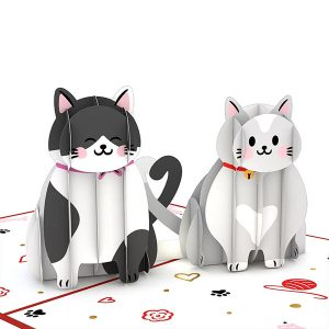 Hyegraph Invitations Lovepop Love Cats 3D Pop Up Card