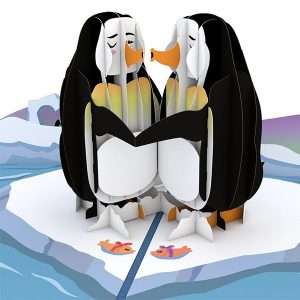 Hyegraph Invitations Lovepop Penguins In Love 3D Pop Up Card