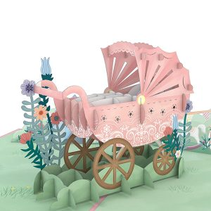 Hyegraph Invitations Lovepop Pink Baby Carriage 3D Pop Up Card
