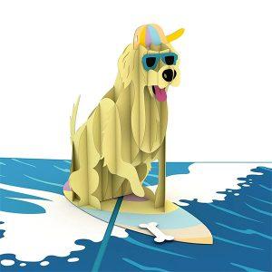 Hyegraph Invitations Lovepop Surf Dog 3D Pop Up Card