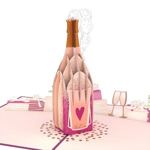 Hyegraph Invitations Lovepop Wedding Champagne 3D Pop Up Card