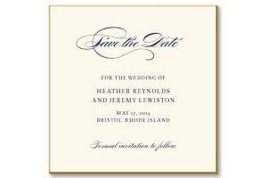 William Arthur 89-91666 Gold Beveled Save The Date